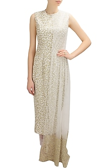 Ivory and gold floral embroidered half cape kurta set by Nikhil Thampi
