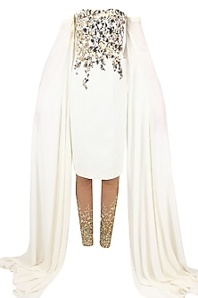 White metal embellished long sleeved tube kurta with gold embroidered churidaar by Nikhil Thampi