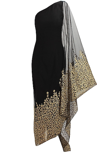 Black floral embroidered kaftan saree with black net churidaar by Nikhil Thampi