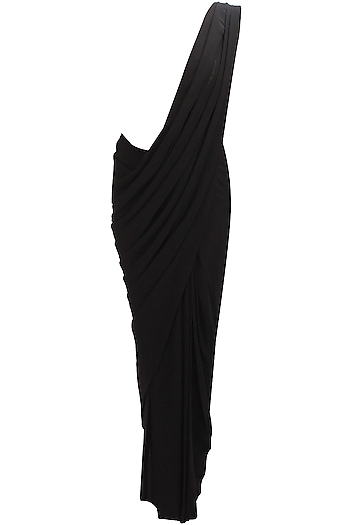Gold embroidered body suit blouse and black saree by Nikhil Thampi