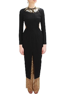 Black metal embellished cutout kurta with gold embroidered palazzos by Nikhil Thampi