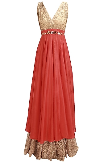 Vermillion and gold metal embellished anarkali with gold attached dupatta by Nikhil Thampi