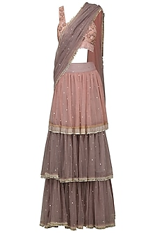 Onion Pink and Grey 3 Tier Embroidered Lehenga Saree by Nandita Thirani
