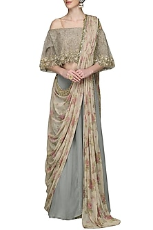 Grey Blue Embroidered Draped Saree by Nandita Thirani