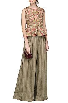 Woody Brown Embroidered Peplum Top with Palazzo Pants by Nandita Thirani