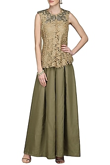Gold Embroidered Top with Olive Green Palazzo Pants by Nandita Thirani