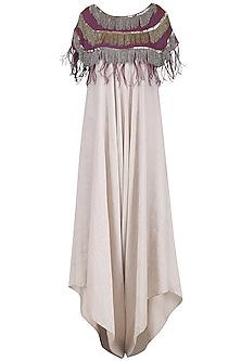 Beige Jumpsuit with Purple Embroidered Capelet by Nandita Thirani