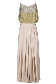 Grey Embellished Cape Top with Ivory Skirt by Nandita Thirani