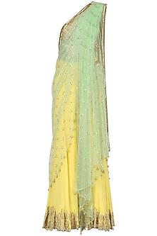 Lemon Yellow Embroidered Draped Saree with Nude Blouse by Nandita Thirani