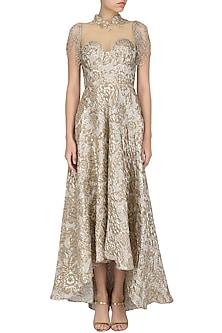 Ivory High Low Embroidered Dress by Nandita Thirani
