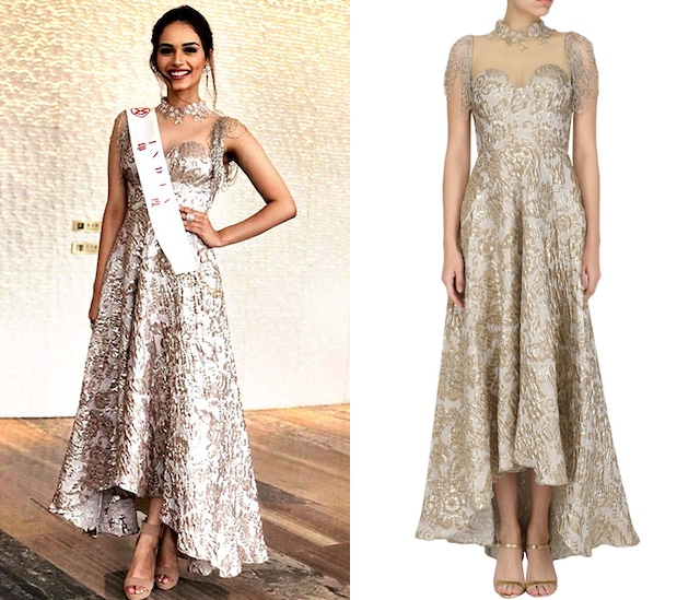 Ivory High Low Embroidered Dress by Nandita Thirani