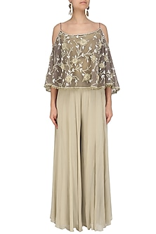 Beige Off Shoulder Embroidered Cape Top with Sharara Pants Set by Nandita Thirani