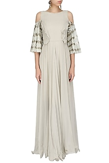 Grey Cold Shoulder Embroidered Gown by Nandita Thirani