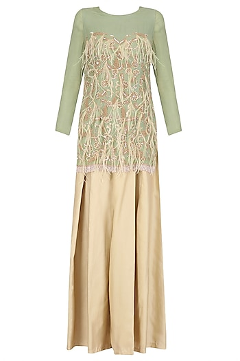 Nile Green Embroidered Tunic with Beige Wide Legged Pants Set by Nandita Thirani