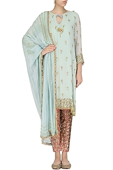 Powder Blue Embroidered Kurta and Pants Set by Nandita Thirani