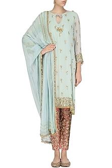 Powder Blue Embroidered Kurta and Pants Set by Nandita Thirani