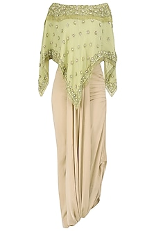 Mellow Green Off Shoulder Embroidered Top with Asymmetrical Skirt by Nandita Thirani