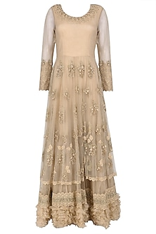Dusky Rose Multilayered Embroidered Anarkali by Nandita Thirani