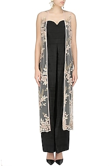Black Off Shoulder Palazzo Jumpsuit with Pink Embroidered Vest by Nandita Thirani