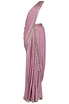 Lilac Embroidered Drape Saree by Nandita Thirani