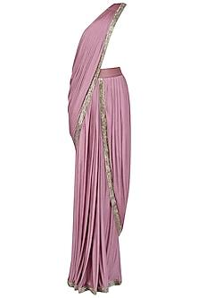 Lilac Embroidered Drape Saree by Nandita Thirani