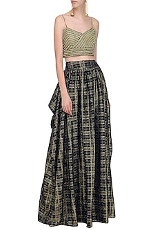Beige and Blue Embroidered Bralette with Textured Check Skirt by Nandita Thirani