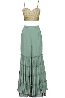Green Layered Sharara with Embroidered Bralette by Nandita Thirani