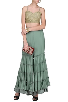 Green Layered Sharara with Embroidered Bralette by Nandita Thirani