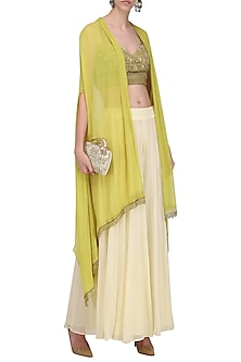 Beige Embroidered Bralette with Palazzo Pants and High Low Jacket by Nandita Thirani