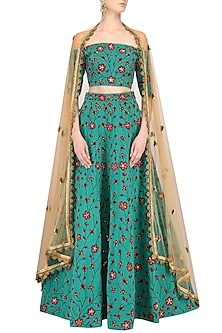 Teal Off Shoulder Floral Embroidered Lehenga Set by Nikhil Thampi