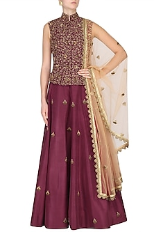 Maroon Butta Anarkali with Embroidered Waist Coat by Nikhil Thampi