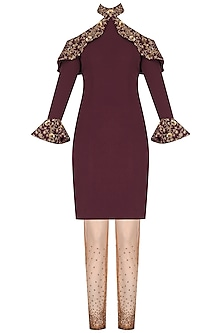 Maroon Cold Shoulder Frill Kurta with Embroidered Churidaar by Nikhil Thampi