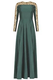 Teal and Nude Embroidered Anarkali Set by Nikhil Thampi