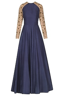 Blue and Nude Embroidered Raglan Sleeves Anarkali Set by Nikhil Thampi