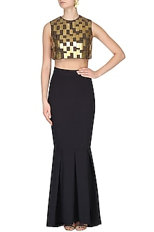 Black Chip Embroidered Crop Top with Fishtail Skirt by Nikhil Thampi