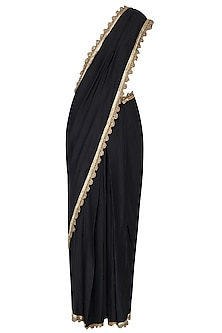 Black Draped Sari with Embroidered Blouse by Nikhil Thampi