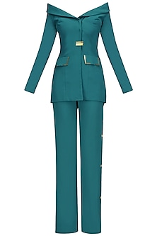 Teal Green Metal Chips Detail off Shoulder Blazer and Pants Set by Nikhil Thampi