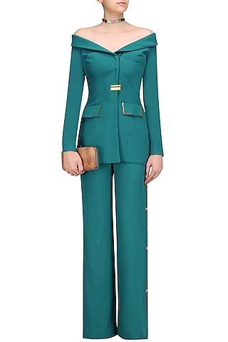Teal Green Metal Chips Detail off Shoulder Blazer and Pants Set by Nikhil Thampi
