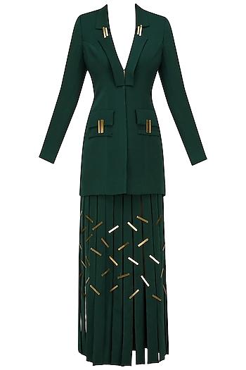 Bottle Green Metal Chips Detail Full Sleeves Blazer and Skirt Set by Nikhil Thampi