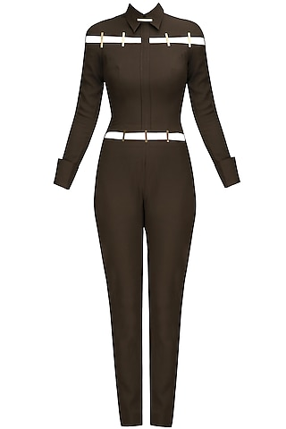 Olive and Gold Metal Chips Detail Jumpsuit by Nikhil Thampi