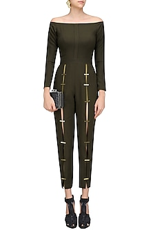 Olive Metal Chips Detail Fitted Jumpsuit by Nikhil Thampi