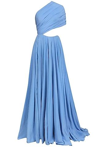 Powder Blue One Shoulder Drape Gown by Nikhil Thampi