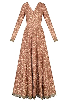 Onion Pink Fully Embroidered V Neck Anarkali Set by Nikhil Thampi
