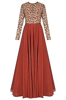 Rust Leaf Embroidered Anarkali Set by Nikhil Thampi