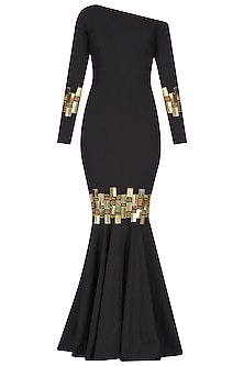 Black Chip Embroidered Drop Shoulder Gown by Nikhil Thampi