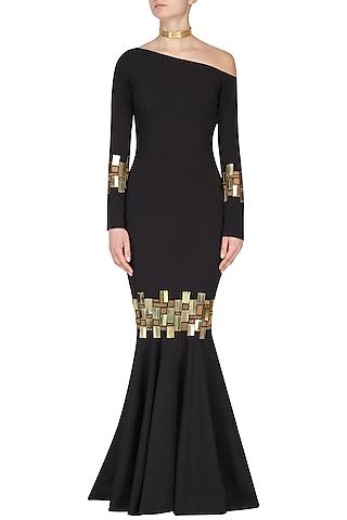 Black Chip Embroidered Drop Shoulder Gown by Nikhil Thampi
