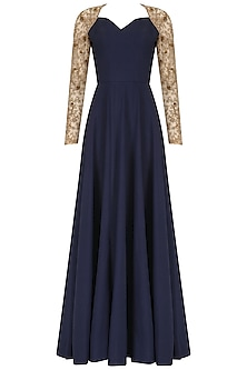 Navy Embroidered Raglan Sleeves Anarkali by Nikhil Thampi