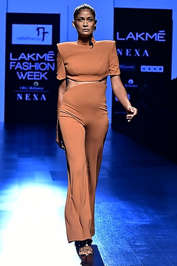Light Brown Crop Top With Slant Pants by Nikhil Thampi