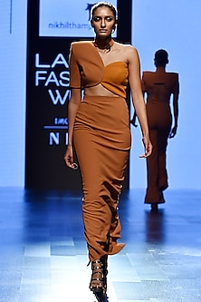 Brown Circular Top With Skirt by Nikhil Thampi