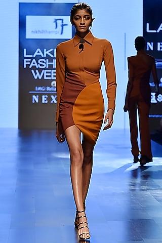 Brown Petal Mini Dress by Nikhil Thampi